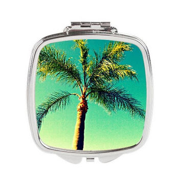 Palm Tree Mirror - FREE shipping to USA silver compact purse mirror pocket mirrors always sunny florida trees green dye sublimation