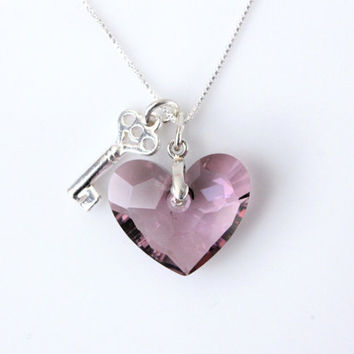 Key to Heart necklace, Valentines gift for her, 925 Sterling Silver, Swarovski crystal heart necklace, Valentines Day gifts