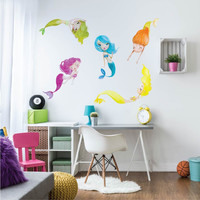 Playful Water Mermaids Fabric Wall Decals