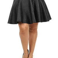 Plus Size Lively Diamond Pattern Leather Skater Skirt, Plus Size Clothing, Club Wear, Dresses, Tops, Sexy Trendy Plus Size Women Clothes