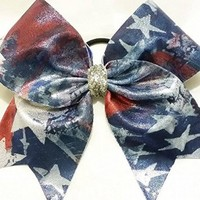CHEERLEADING BOW - STARS & STRIPES METALLIC FLAG (silver center) BIG 3 inch BASE RIBBON CHEER BOW on elastic PONY-O