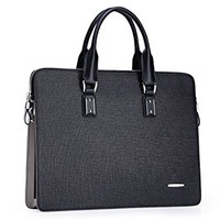 Teemzone Men's Real Leather Business Casual Briefcase Laptop Portfolio Tote