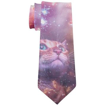 DCCKJY1 Galaxy Cat All Over Neck Tie