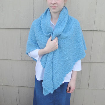 Large Cozy Shawl, Hand Knit in Blue Wool, Prayer - Comfort - Cuddly - Wrap