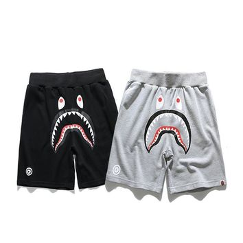 hcxx 2085 Bape Solid color shark head printed cotton shorts