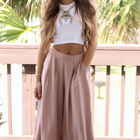 Namaste Taupe Solid Textured Culotte Pants
