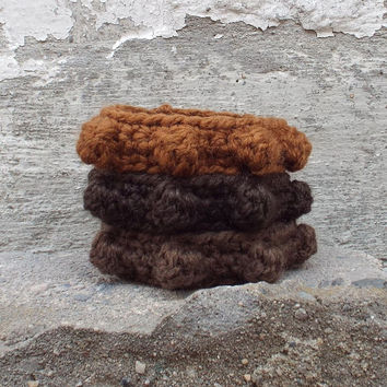 Womens Bracelet - Soft Crochet Cuff with Bobbles -  Set of 3 Bangles - Shades of Brown