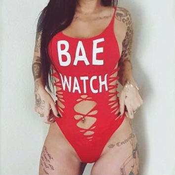 Bae Watch Strap Letter Print Hollow One Piece Swimsuit Swimwear