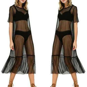 Sexy Women Party Evening Black Mesh Dress Sheer Maxi Dress Tulle Lace Long Dress