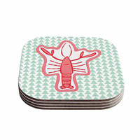 """MaJoBV """"Langosta"""" Red Lobster Coasters (Set of 4)"""