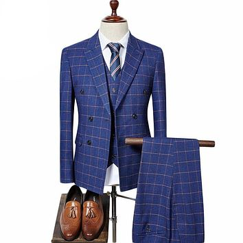 Double Breasted Slim Fit Plaid Suits Three-Piece Wedding Suit