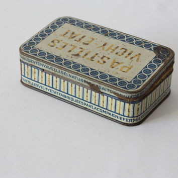 Old little box of Vichy Etat sweets - drops, Blue metal box, collection box, pharmacy