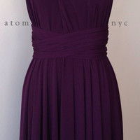 Backordered 3 Weeks** Dark Purple Grape Eggplant Infinity Dress Convertible Formal Multiway Wrap Bridesmaid Dress Cocktail Evening Short