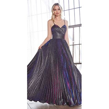 Long A-Line Pleated Dress Metallic Purple Glitter Finish Sweetheart Neckline