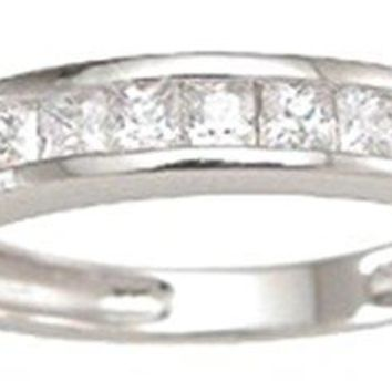 Sterling Silver Channel Set Princess Cut CZ Stackable Band Wedding Ring