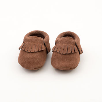 Fringe Baby Leather Suede Moccasins Brown Beauty