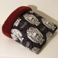 Guinea Pig Snuggle Sack, Hedgehog Hidey, Rat Snuggle Home - Reinfoced Skulls with Maroon Fleece