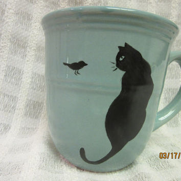 Cup MUG Aqua Blue, Black Cat with bird, Porcelain Ceramic Pottery, Hand Painted and Kiln Fired by B Marsh 14 oz CUP