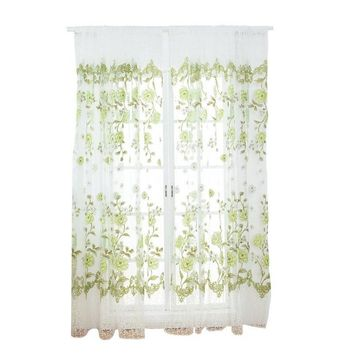 Curtains For The Living Room French Window Pastoral Style Flowers Printed Gauze Curtains