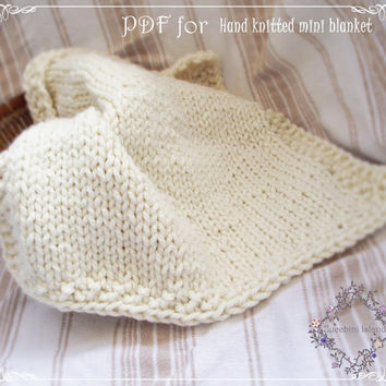 Knitting Pattern, PDF to knit a Chunky Baby Blanket, suitable for begginers, Instant Download, Easy knit blanket