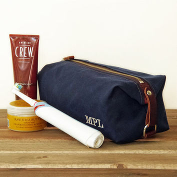 Men's Toiletry Shaving Bag, Dopp Kit, Wedding Best Man Gift, Personalized, Waxed Canvas and Leather, Shown in Navy Blue, Nautical, Sailing