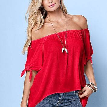 Red Tie Off The Shoulder Blouse from VENUS
