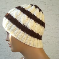 Knitted mens beanie, unisex beret, hat, in cream with brown stripes, gift for him, mens fashion, gift for her
