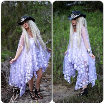 Kylie Boho Butterfly poncho, Purple floating butterfly poncho top, by True Rebel Clothing
