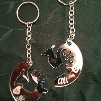 Personalized Laser Cut Mirrored Buck & Doe Interlocking Keychains FREE SHIPPING