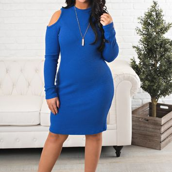Curvy High Hopes Bodycon (Royal)