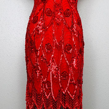 EXQUISITE Red Fringe Beaded Dress / Great Gatsby Flapper / Heavily Beaded Sequined Art Deco Dress by Lillie Rubin