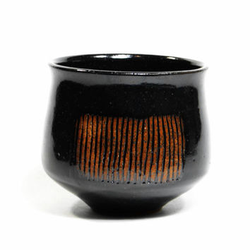 Black stoneware tea bowl, chawan, yunomi, teacup, tea cup, small bowl, decorative bowl, father's day gift