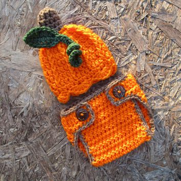 Crochet Baby Pumpkin Hat And Diaper Cover Set