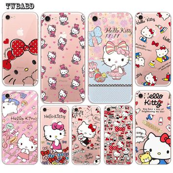 TWBABD Cute Hello Kitty Cat Phone case For fundas iPhone 7 shell for 8 8Plus X 7Plus 5S SE Soft Silicon case for coque iPhone 6S