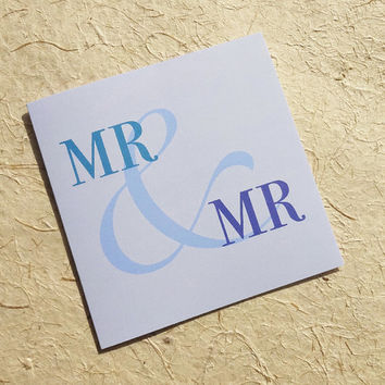 Wedding card, Mr & Mr, beautifully simple blue gay wedding card, the perfect card to congratulate them on their big day