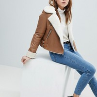 Bershka Cropped Aviator Jacket at asos.com
