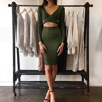 Plunge V-neck Long-sleeved Cut Out Bodycon Dress