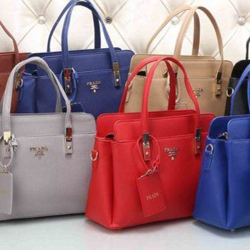 Chenire PRADA Women Fashion Leather Satchel Tote Handbag Shoulder Bag Crossbody Set Two-Piece