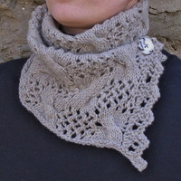 Soft merino lace scarf,Buttoned scarf,Lace neck wrap