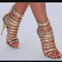 Straps Back Zipper Stiletto High Heels Gold with Damond Heels Gladiator Sandals