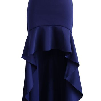 Airy Frill Hem Skirt in Navy