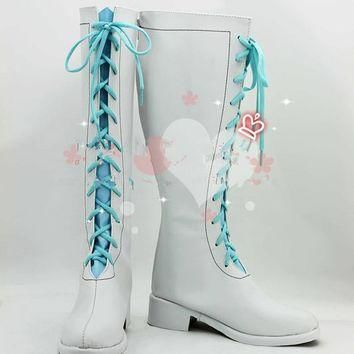 Anime Love Live ! Wonderful Rush blue white boots cosplay shoes
