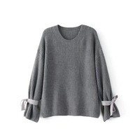 Women All-match Simple Solid Color Side Split Long Sleeve Bow Sweater Tops