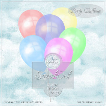 Party Balloons, Birthday Balloons, Clip Art, Scrapbooking, Journaling, Card Making, Digital Paper Craft, Craft Supplies, Instant Download