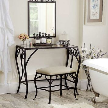 Black Metal 3-Piece Vanity Set | Kirklands