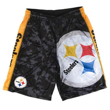 Pittsburgh Steelers Official NFL Big Logo Camo Shorts