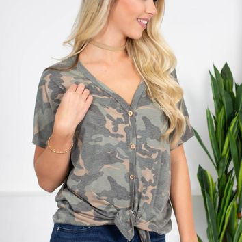 Country Camo Button-Up Top | Best Seller