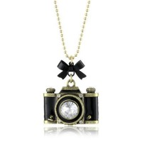 "Betsey Johnson ""Royal Engagement"" Large Camera Long Pendant Necklace"