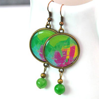 Bohemian earrings, Green Jade earrings, Round resin earrings, Large statement earrings, Picture jewelry for women