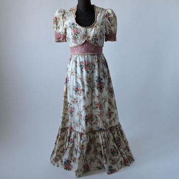 Vintage Maxi Dress Jody T of California 70's Pink Floral Cotton Peasant Prairie Edwardian Style Cotton size Medium